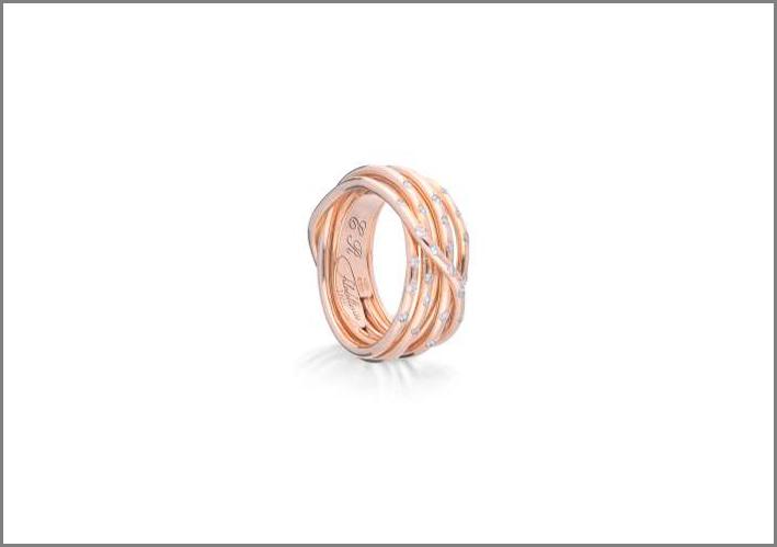 Anello Filodellavita Ten in oro rosa e diamanti, versione Leda