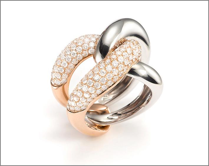 Anello in oro rosa e bianco com pavé di diamanti