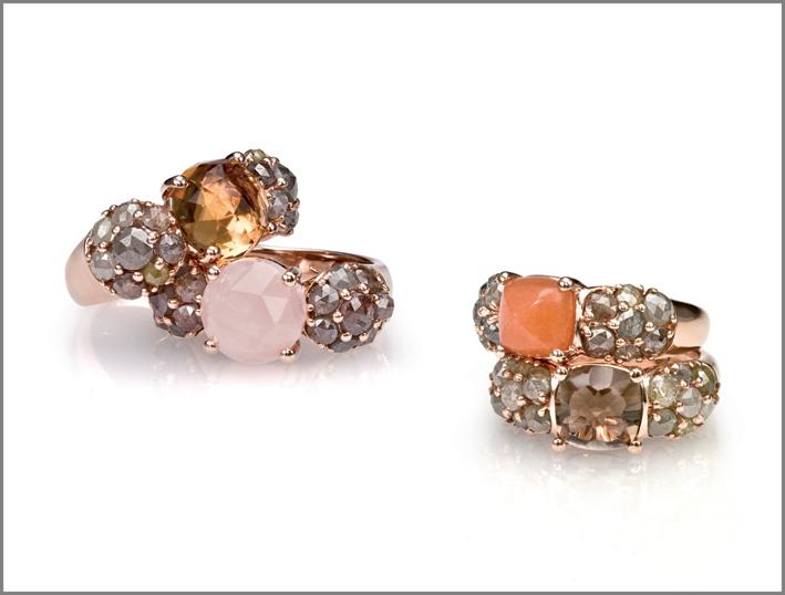 Anello oro rosa, diamanti grigi, quarzo citrino. Anello oro rosa, diamanti grigi, quarzo rosa. Anello oro rosa, diamanti grigi, sun stone. Anello oro rosa, diamanti grigi, quarzo fumé