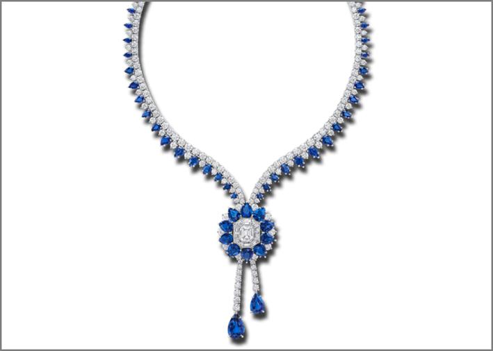 Collana Marble Marquetry con diamanti e zaffiri