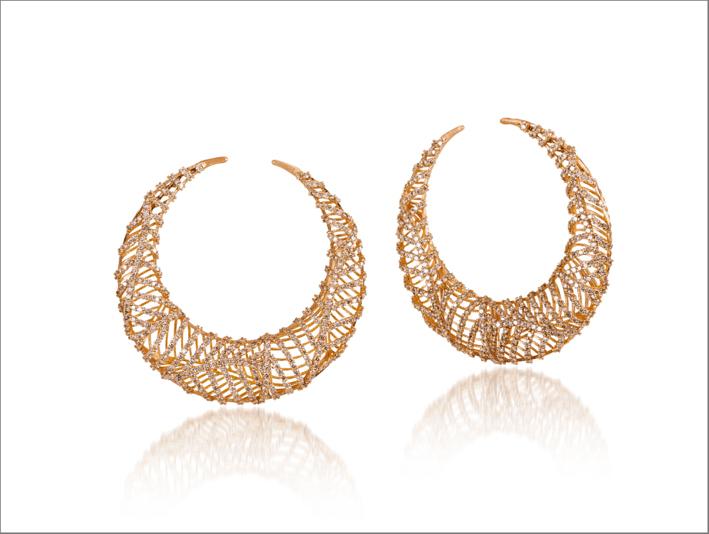 Orecchini Tribe oro rosa con diamanti
