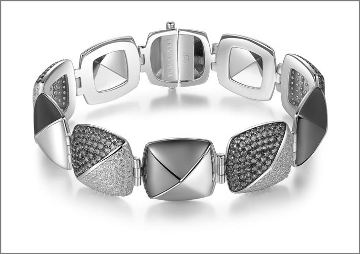 Pianegonda, bracciale in argento con zirconi bianchi e grigi