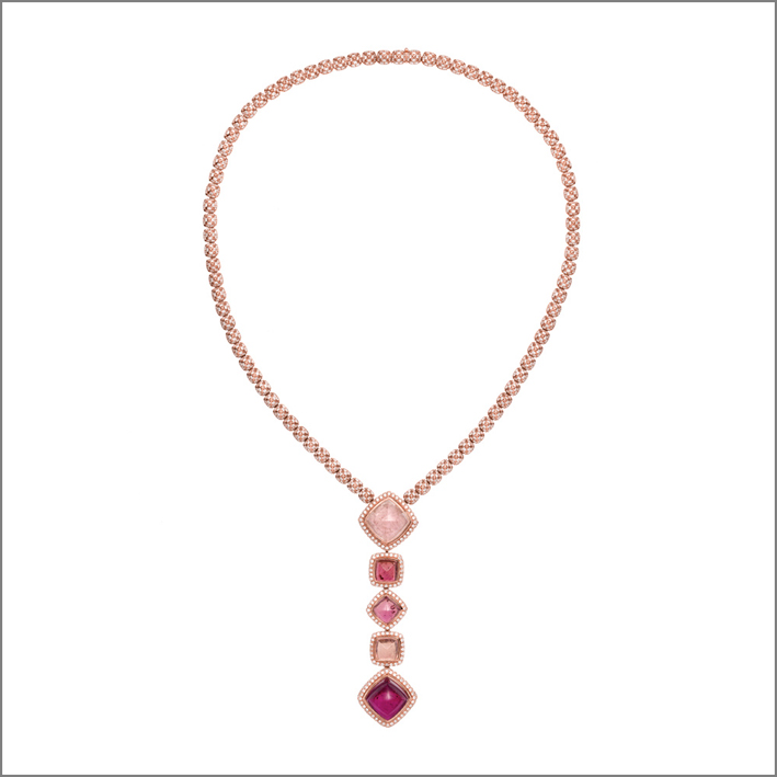 Collana Sugar Pain in oro rosa, diamanti, tormalina rosa, rubelliti