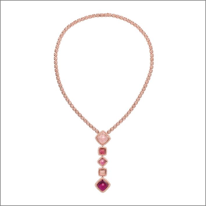 Collana Sugar Pain in oro rosa, diamanti, tormalina rosa, rubelliti