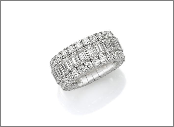 Collezione Xpandable, anello con diamanti per 6,87 carati