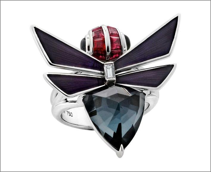 Anello impilabile in oro bianco, ematite, smalto lilla, diamanti bianchi baguette, rubini, spinello nero