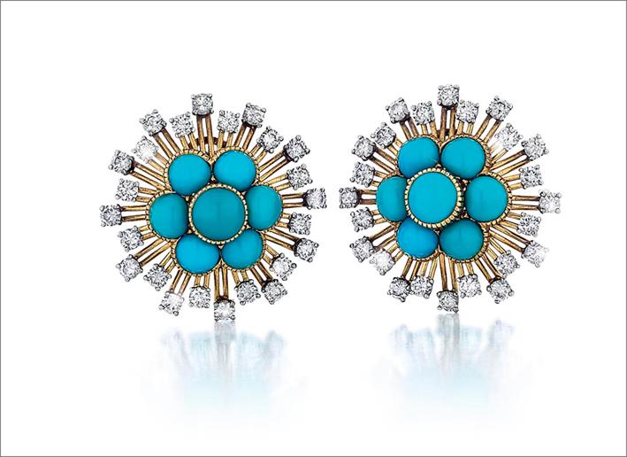 Orecchini a grappolo di Cartier con turchesi e diamanti