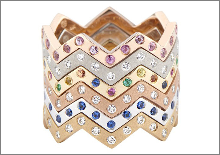 Anelli impilabili in oro, diamanti, pietre