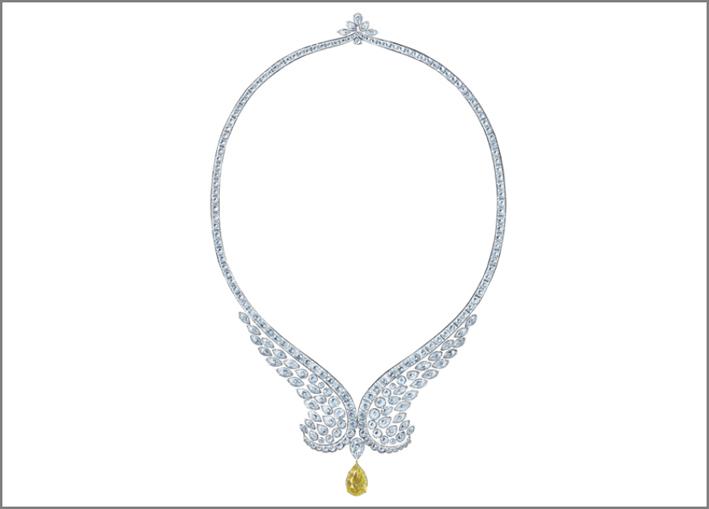 Collana con diamanti bianchi e gialli della linea Eagle