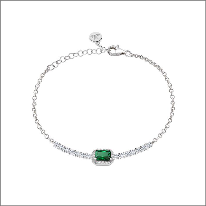 Braccialetto in argento con pietra sintetica color smeraldo