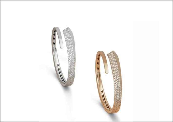 Bracciali in oro bianco, rosa e diamanti della collezione Like