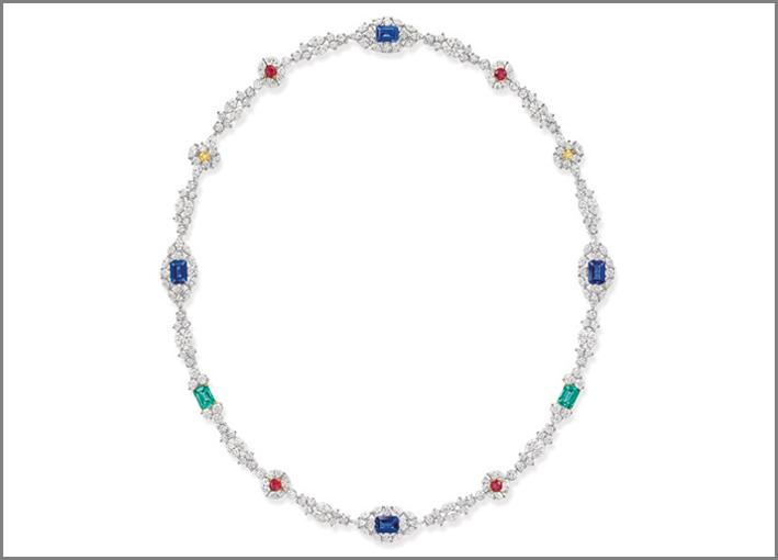Collana della linea City Lights, con diamanti, smeraldi, rubini, zaffiri