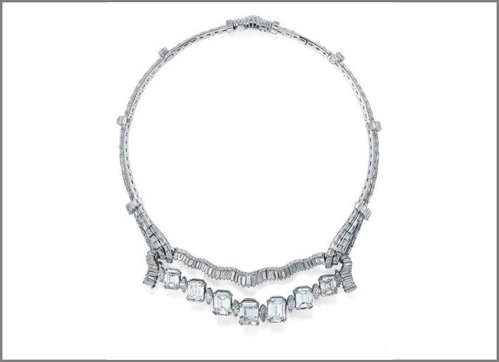 Collana con diamanti taglio rettangolare, marquise e baguette. Ex proprietà Maria Luisa de Lacambra, figlia del conte di Lacambra