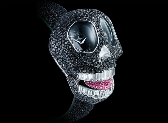 Crazy Skull, bracciale orologio con diamanti neri di de Grisogono