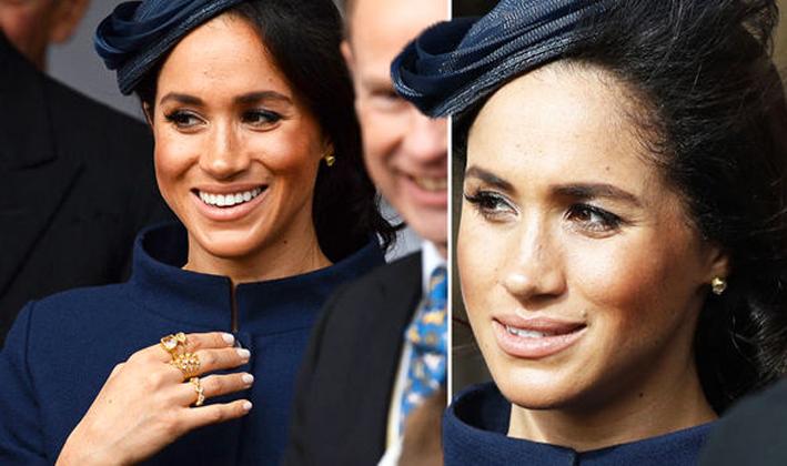 Meghan Markle al matrimonio della principessa Eugenie, con gioielli di Pippa Small