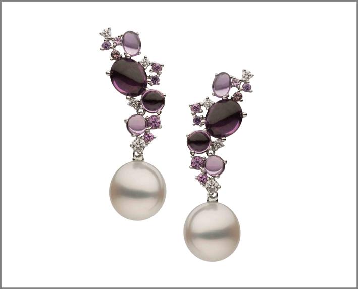 Orecchini con perle e ametiste
