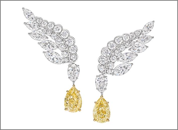 Orecchini Eagle con diamanti bianchi e yellow