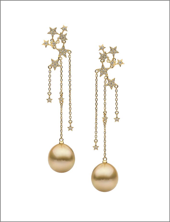 Perle dorate pendenti