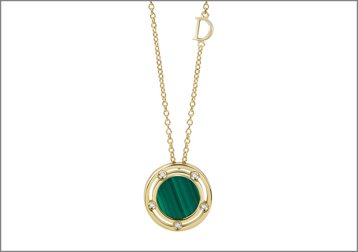 Pendente con malachite e diamanti