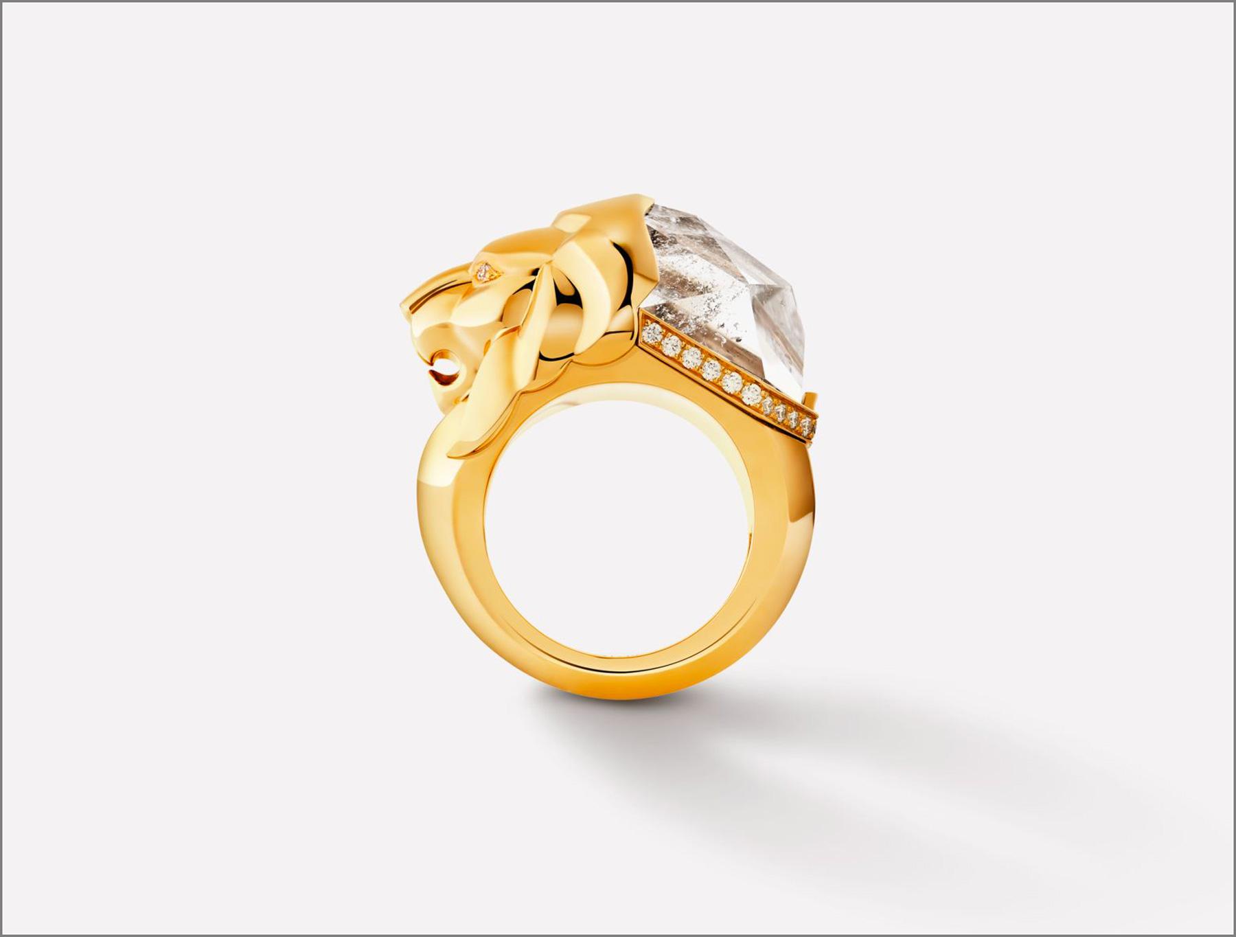 Anello in oro giallo 18 carati con diamanti e quarzo