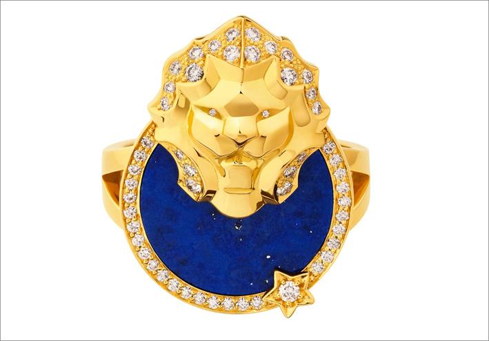 Anello in oro con diamanti e lapislazzuli