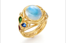Anello Oasis, in oro, con pietra luna blu, tormalina, tanzanite, rubino, diamanti
