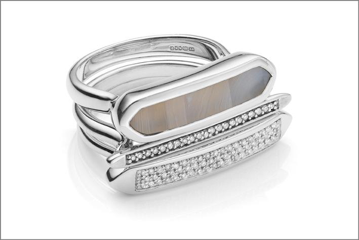 Set di anelli con diamanti e agata grigia