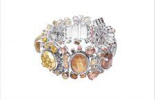 Bracciale in argento sterling con gemme multiple di granato, zaffiri, quarzo rutilato, citrino druzy, e perle colorate