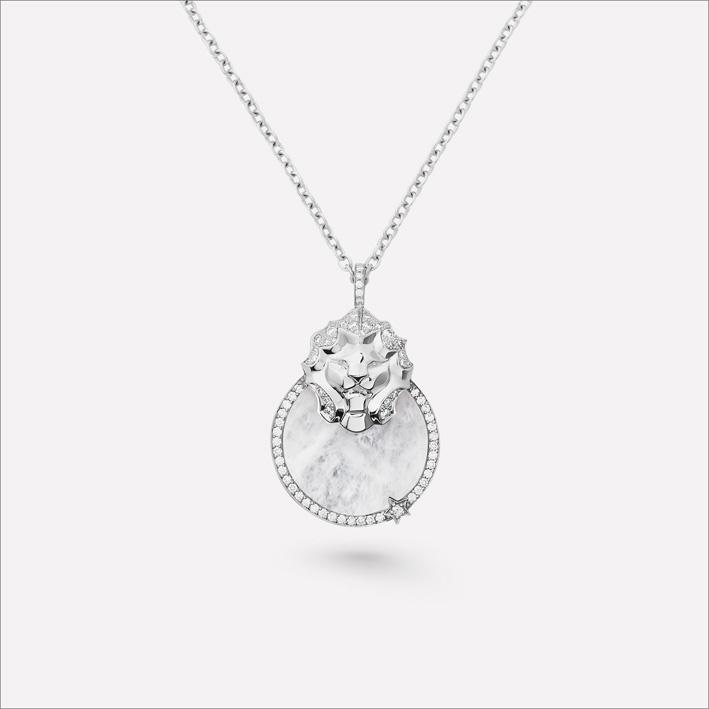 Collana medaglia in oro bianco, diamanti e quarzo