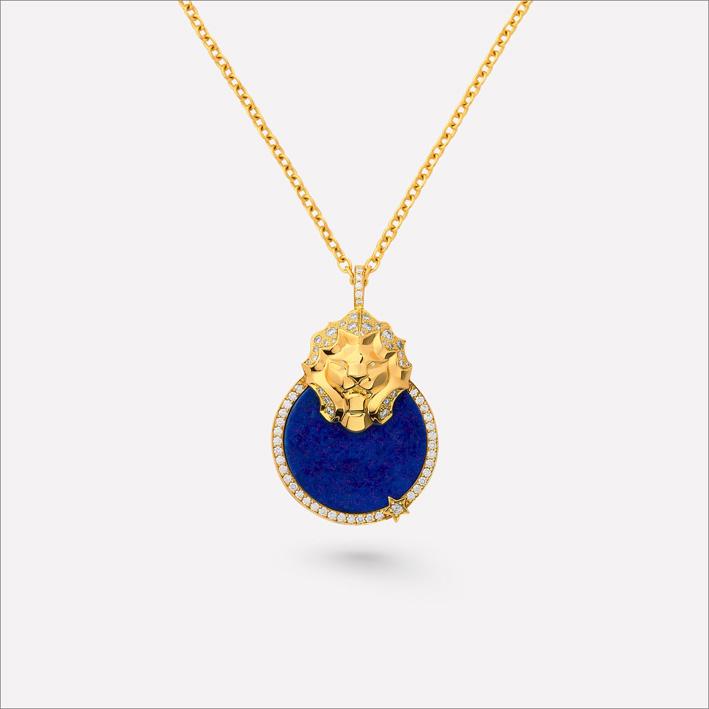 Collana medaglia in oro giallo, diamanti e lapislazzuli