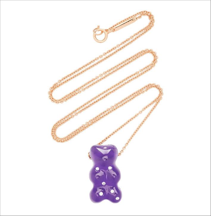 Collana in oro rosa con orsetto di quarzo e diamanti