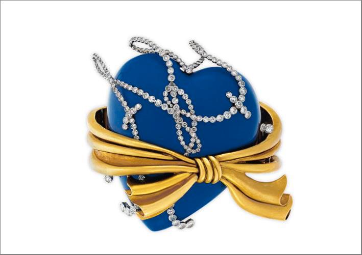 Bracciale firmata René Bonvin in smalto, oro e diamanti appartenuta a Andy Warhol