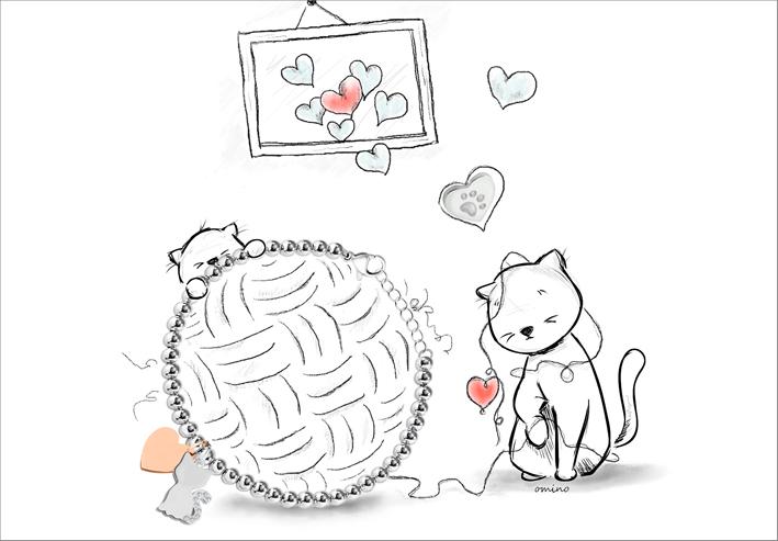 Illustrazione con bracciale gatto