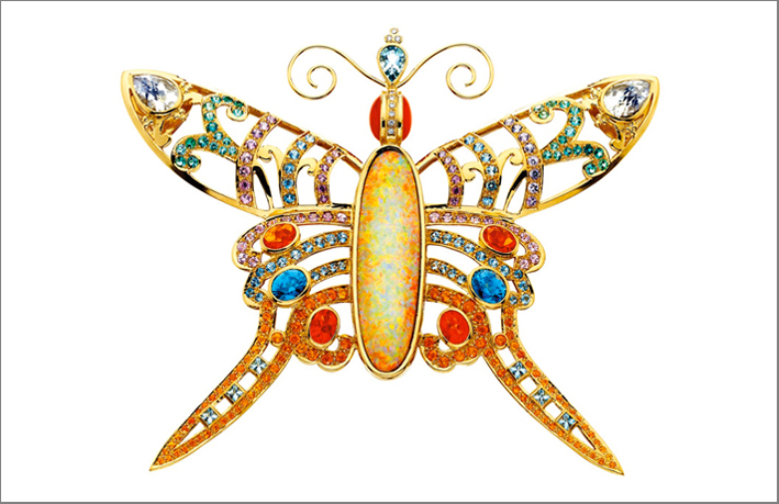 Spilla Madame Butterfly in oro gemme preziose