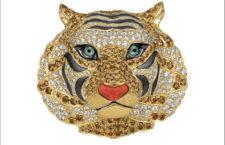 Spilla a forma di testa di tigre con diamanti