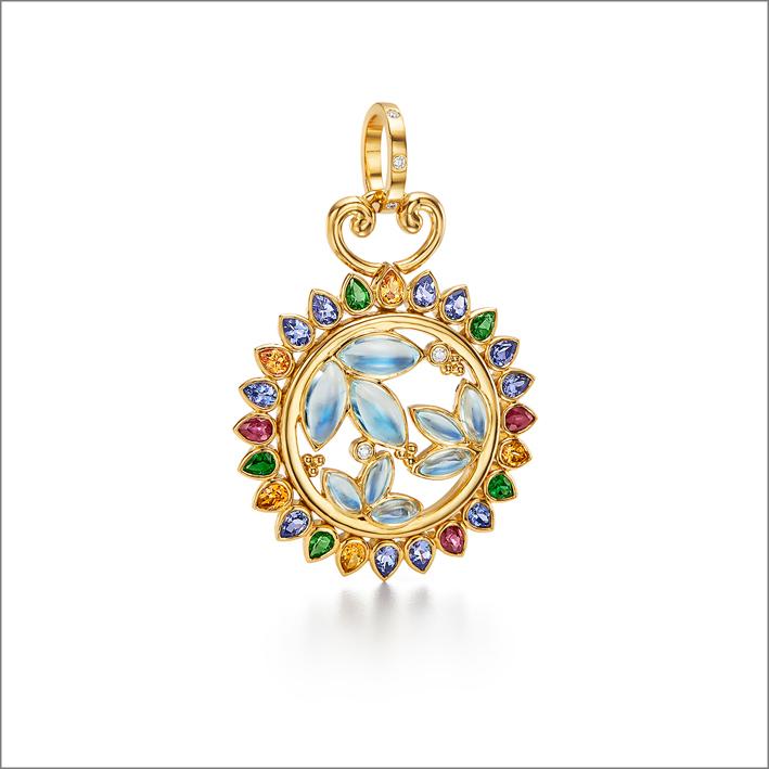 Pendente a forma di Oasi lunare, oro 18K, rubino, tormalina, tanzanite, granato spessartite, pietra luna blu, diamanti