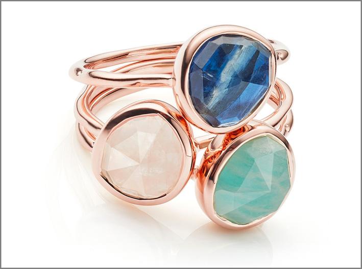 Set di anelli impilabili con amazonite, quarzo rosa, cianite