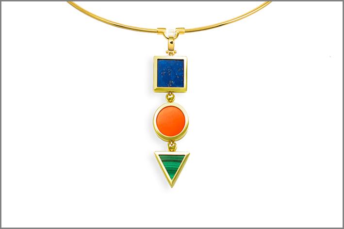 Collezione Trio Classic, pendente in oro con lapislazzuli, malachite e diaspro