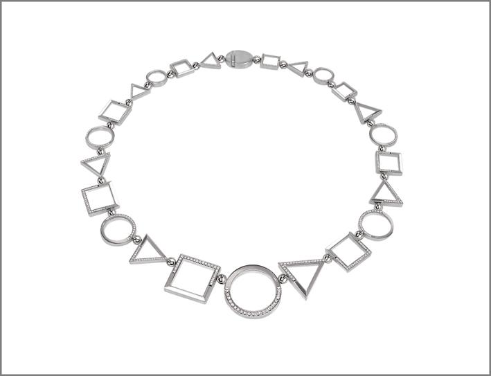 Collana in oro bianco 18 carati e diamanti della collezione Trio