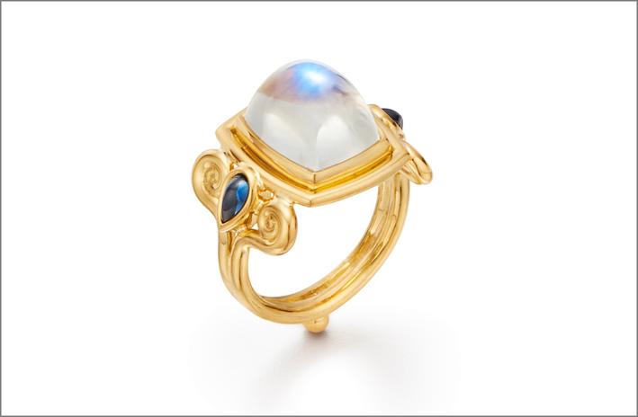 Collezione SIlk Road, anello con pietra luna blu e zaffiri