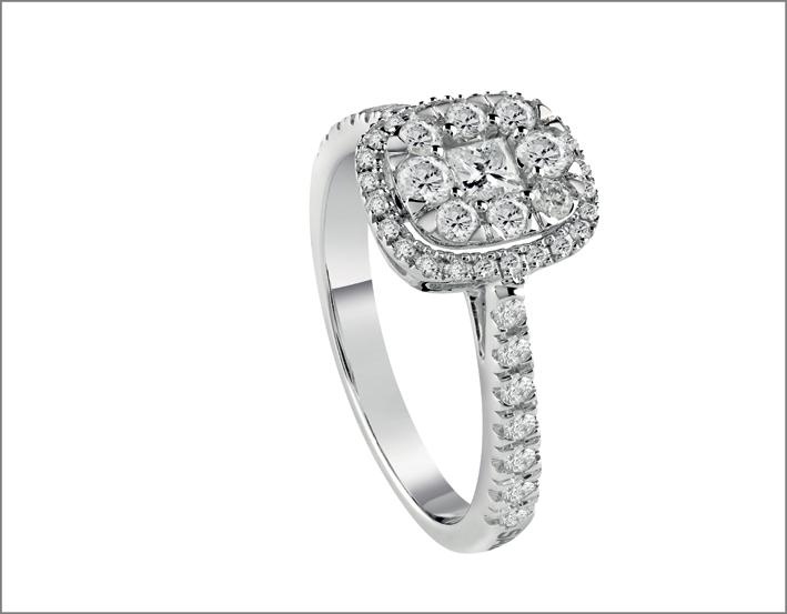 Oro bianco e diamanti, collezione Forma