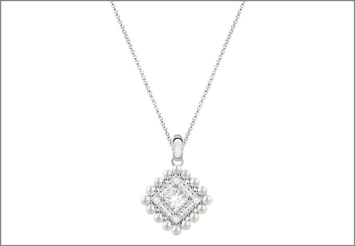 Pendente in argento, perline e cubic zirconia