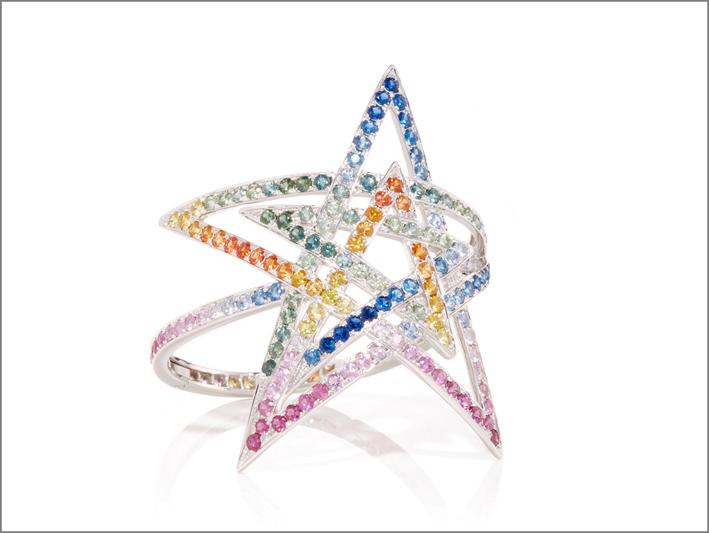 Bracciale stella in oro bianco e zaffiri multicolori
