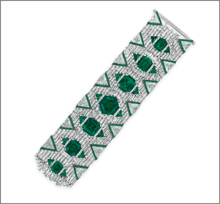 Bracciale con sette smeraldi ottogonali