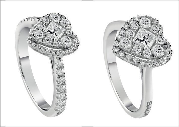Anello in oro bianco e diamanti, con brillanti sul gambo o senza