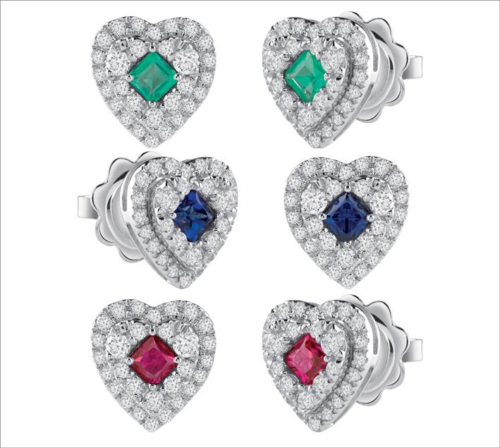 Orecchini in oro bianco con diamanti e smeraldo, rubino e zaffiri