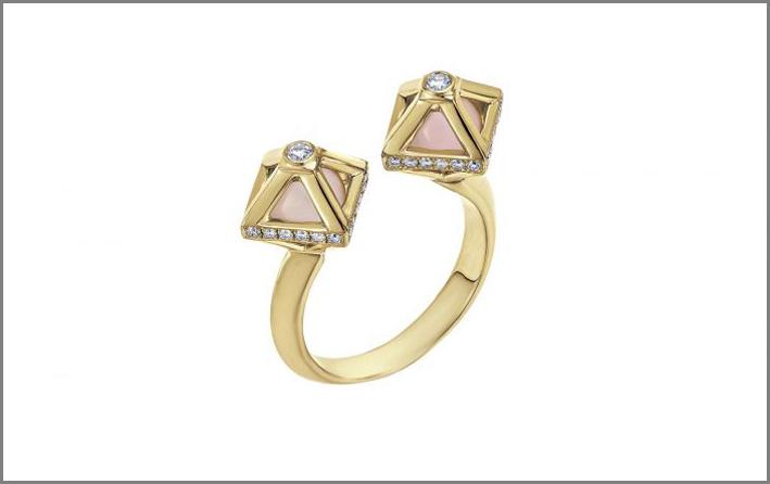 Anello in oro con due diamanti creati e quarzo sintetico