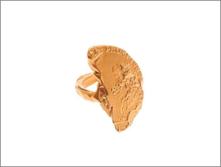 Anello il Leone, bronzo placcato oro 24 carati