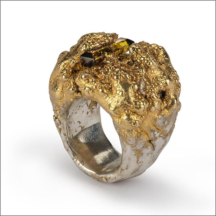 Anello con tormalina baguette, argento, glitter, resina, placcato oro
