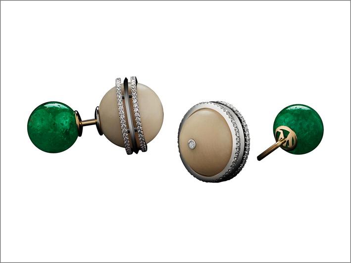 Orecchini con smeraldi Muzo e tagua